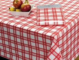 get ations a picnic plaid vinyl tablecloth round red bandana