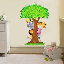 SAFARI ANIMALS TREE Decal Removable WALL STICKER Home Decor Art ...