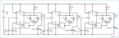 rgb led bulb circuit diagram using 555 timer ics rgb light circuit diagram using 555 timer ic