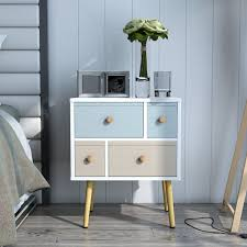 Lifewit Assembled Beside Table Wood and Canvas End Table with 4 Drawers,  Modern Nightstand Storage