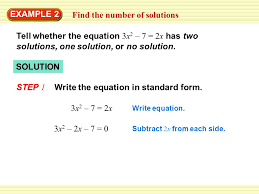 find the number of solutions example 2 tell whether the equation 3x 2 7