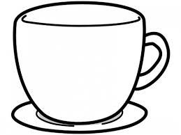 コーヒーカップ型の白黒フレーム飾り枠イラスト 無料イラスト かわいい