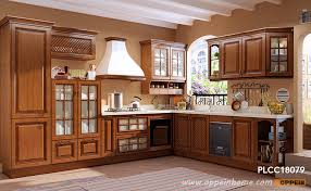 traditional l shaped cherry wood kitchen plcc18079