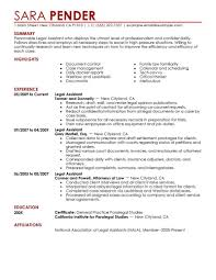 Legal Secretary Resume No Experience Assistant Cover Letter