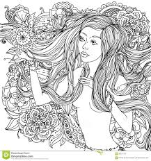 beautiful fashion woman with abstract hair and flowers in the image of a mermaid and could be used for coloring book black and white in zentangle style