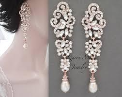 Long Rose Gold Pearl Earrings Crystal Statement Earrings 3