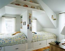 Creative twins' bedroom in the attic