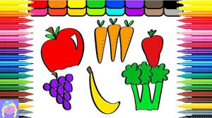 learn how to draw and color fruits and veggies with digital coloring book for kids