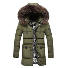 winter wear men s fur collar cotton clothes fashionable and casual pure color long style warm
