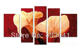 orange black white flower living room decoration pictures wall oil painting 5 piece modern abstract canvas art sets on wall art pieces decorating with hand painted grey yellow white calla lily flower oil painting on
