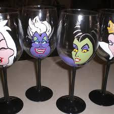 set of 4 hand painted tulip wine glasses disney villainesses evil queen
