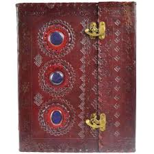 3 stone leather blank book with latch 10 x 13 at mystic convergence metaphysical supplies