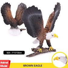 Oenux High Quality Brown Eagle Savage Bird Figurines Lifelike Birds Animals  Model Action Figures Collection Toy