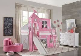 bunk bed with slide and tent. Pink Cottage White Jr. Tent Loft Bed With Slide, Top And Tower - Bunk/Loft Beds Bunk Slide