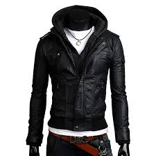 slim fit black leather jacket with hoo for men zoom slim