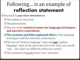 how to write a reflection statement