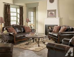 brand new leather sofa with wood trim 498