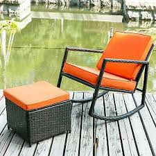 outdoor patio wicker rocking armed garden lounge ottoman rattan rocker chair new
