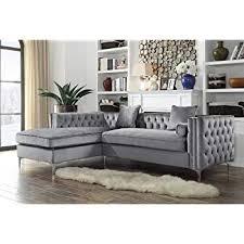 velvet tufted sectional. Fine Velvet Iconic Home Da Vinci Tufted Silver Trim Grey Velvet Left Facing Sectional  Sofa With Tone In E