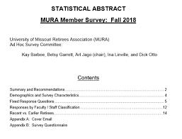 Survey Report Mura Survey Report Statistical Abstract Mizzou Alumni