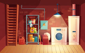 cellar interior, <b>laundry</b> inside the basement in <b>cartoon style</b>. Free ...