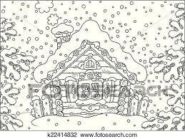 丸太 小屋 中に 雪 クリップアート切り張りイラスト絵画集