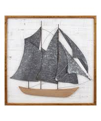 voyager ship wood galvanized metal wall décor
