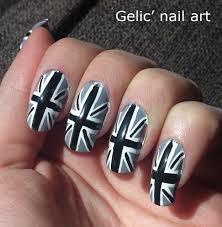Gelic' nail art: Gray union jack nail art