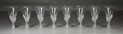 8 lalique style frosted glass wine glasses bird dove stems 6 3