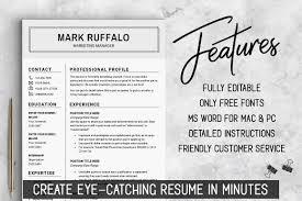 2 Page Resume Template Cv Basic Resume Word Resume Man Mens Resume