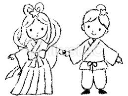 織姫と彦星 七夕 手描き 手書き 白黒イラスト No 1155208無料