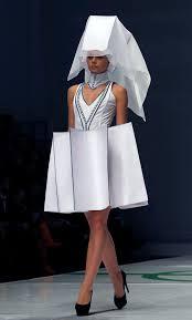 a model displays a creation by designer yarotskaya during an avant garde international fashion show avant garde