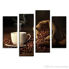 brown a cup of coffee and coffee bean wall art painting the picture print on canvas food pictures for home decor decoration gift wall art canvas coffee  on brown wall art canvas with brown a cup of coffee and coffee bean wall art painting the picture