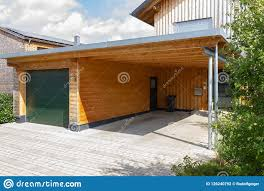 Contemporary Carport Design Wooden And Modern Carport Stock Photo Image Of Roofing