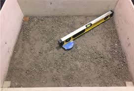 when creating your pitch remember to compensate for the thickness of your chosen tile before pouring the top layer of concrete tile should be equal to or