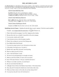 The Adverb Clause Worksheet for 9th Grade | Lesson Planet
