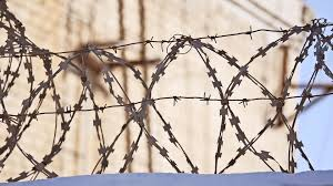 barbed wire fence prison. Video: Barbed Wire Fence At The Prison, Sun Glare On A Background Of Blue Sky ~ #86493869 Prison