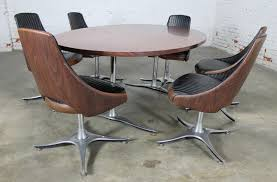 mid century swivel chair. Mid Century Dinette Set With Aluminum Base Oval Double Pedestal Table And Six Swivel Chairs Chair R