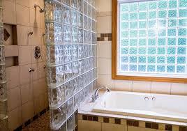 shower tub bathroom ceramic tile glass blocks