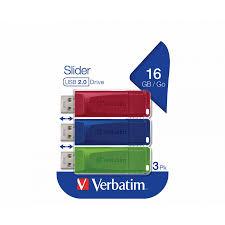 <b>Verbatim</b> Slider <b>USB Drive 16GB</b> Pack of 3 - USB Flash Drives ...