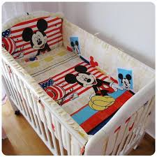6pcs mickey mouse baby boy girl crib bedding set baby cot beding cotton cuna