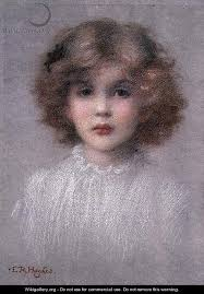 Portrait of a Young Girl - Edward Robert Hughes - painting1