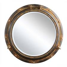 round metal porthole framed wall mirror