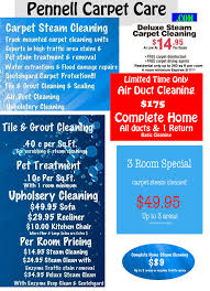 carpet cleaning flyer pennnell carpet care