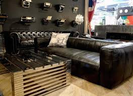 Classic Brown Leather Man Cave Couch