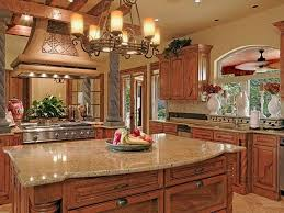 ... 014 Gros Tuscan Kitchen Countertops Charming Decorating Ideas Maple  Wood Cabinet Free Standing Island Gas Cooktop ...
