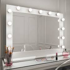 Mirrors With Lights Around Them Audrey Hollywood Mirror In White Gloss 100 X 80cm