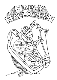 Small Picture Halloween Mummy and spider coloring page for kids printable free