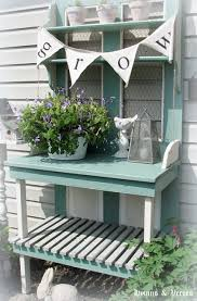 potting bench made from an old door by doreen at hymns and verses
