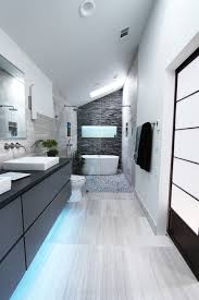 under vanity lighting. Cove Lighting Bathroom Contemporary With Under Vanity Stacked Stone Accent Wall Double Sink